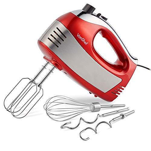 VonShef Sbattitore Elettrico Rosso da 400W - Comprende Fruste in Acciaio Inox a Filo, a Spirale e da Cucina + 5 velocità con Pulsante Turbo
