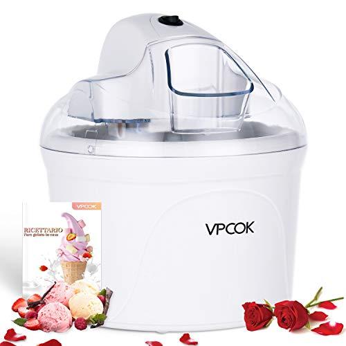 VPCOK Macchina del gelato 1,5L Gelatiera Autorefrigerante Macchina Gelato Macchina del Gelato con Bocca sul Grande Coperchio Visibile Macchina per Gelato Pronto in 30 min