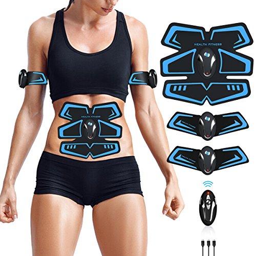 WARDBES Elettrostimolatore per Addominali, Elettrostimolatore Muscolare, EMS Stimolatore Muscolare, USB Ricaricabile ABS Trainer/Toner per Addome/Braccio/Gambe/Waist/Glutei Home Gym