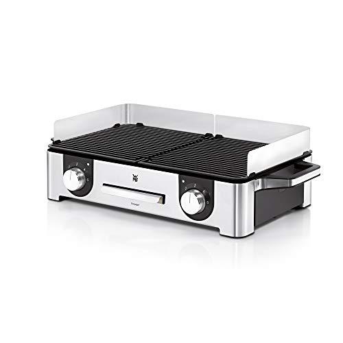 WMF Lono Master grill 50x28cm, grill da tavolo elettrico, 2 superfici grill regolabili separatamente, grill elettrico utilizzabile all'aperto, protezione dal vento, acciaio inossidabile, 2400W