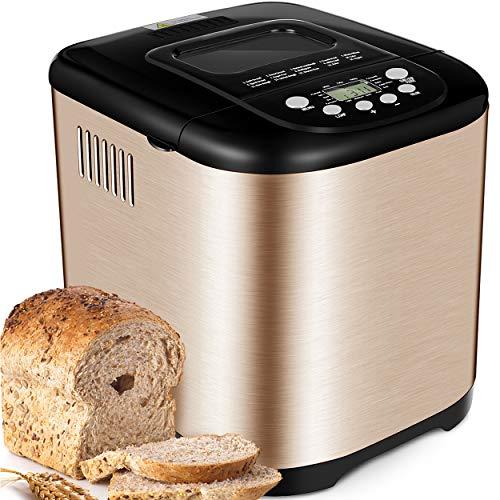 Yabano Macchina da Pane 15 Programmi Automatici macchina per il pane in Acciaio Inox, Macchina il Pane Senza Glutine con 1kg Capacità, 3 Forme Diverse, 3 Colori di Crosta, Display LCD