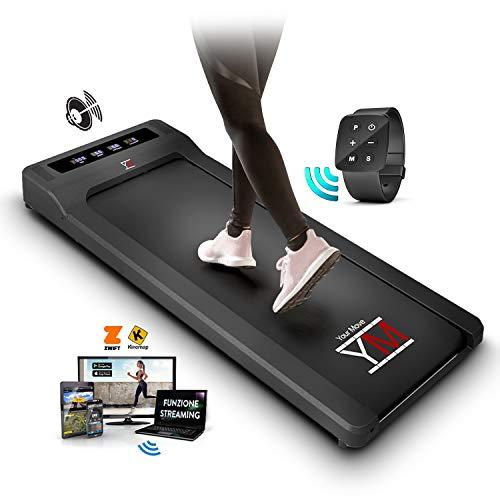 YM Walking Pad Tapis Roulant Elettrico Scrivania, App KINOMAP e ZWIFT, Telecomando a Orologio, Altoparlanti Integrati Bluetooth, 6 Programmi, Professionale Slim, per Casa e Ufficio, 1HP (Picco 2,5HP)