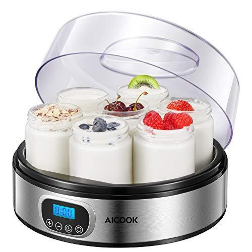 Yogurtiera Elettrica con Display LCD e 7 Vasetti da 200ml, Timer di Spegnimento Automatico, Yogurtiera in Acciaio Inossidabile con Yogurt Ricetta