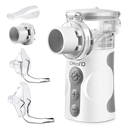 YOHOOLYO Aerosol Ultrasuoni Silenzioso, Kit Nebulizzazione Sostituibile, Aerosol Portatile, Frequenza di Nebulizzazione Modulabile con Boccaglio e Maschera per i Bambini e Adulti Ricaricabile con USB