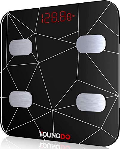 YOUNGDO Bilancia Pesa Persona Digitale Carica USB, 999 utenti Bilancia Impedenziometrica per Dispositivi iOS e Android con 19 Datidi Misurazione del BMI/BFR/Acqua/Muscolo/Grasso Corporeo/BMR etc.
