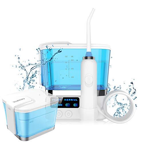 YOUNGDO Idropulsore Dentale Professionale 600ML, Compatto Idropulsore Orale Portatile con 4 Ugelli di Ricambio, Irrigatore Orale per Pulizia Dentale e Igiene Dentale