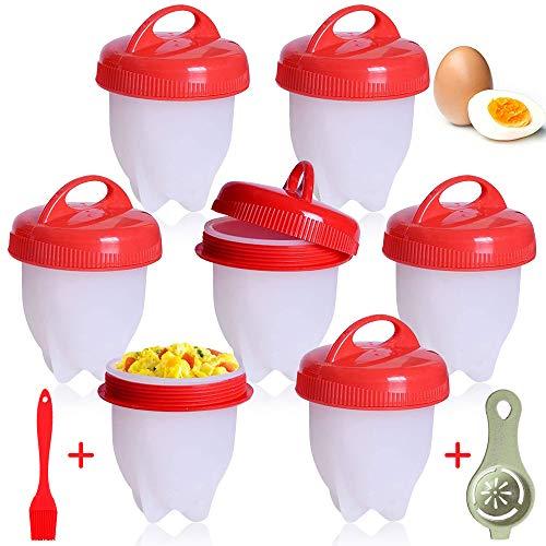 YQHbe Cuociuova, 9 PCS Cuoci Uova Sode Senza Guscio, Silicone Cuociuova Bolli Uovo Fornello in Camicia Antiaderente Casa e Cucina Accessori per Uova Sode Egg Cooker BPA Free.