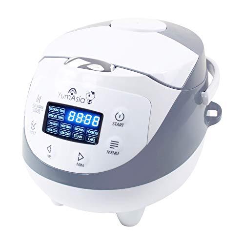 Yum Asia Panda Mini Cuociriso con ciotola in ceramica e Advanced Fuzzy Logic (3,5 tazze, 0,63 litri) 4 funzioni di cottura del riso, 4 funzioni multi-cucina, display a LED Motouch, 220-240V EU