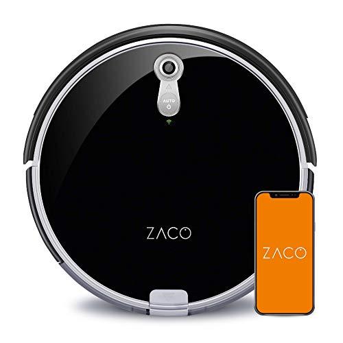 ZACO A8s – Robot Aspirapolvere – Robot Lavapavimenti e Aspirapolvere 3 in 1 con Sistema di navigazione PanoView – App e controllo vocale Alexa – Autoricarica – Nero lucido