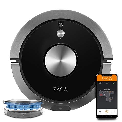 ZACO A9sPro Robot Aspirapolvere con Funzione di Pulizia, App e Controllo Alexa, Mapping, Fino a 2 ore di Aspirazione o Pulizia, per Pavimenti Duri e Tappeti, con Stazione di Ricarica, Nero (Carbonio)