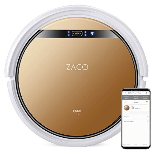 ZACO V5x Robot Lavapavimenti e Aspirapolvere 2 in 1 – 4 modalità di pulizia e sensori ad infrarossi – App e controllo vocale Alexa – Marrone bronzo, 22 W, 65 Decibel, Stainless Steel, Con Wlan