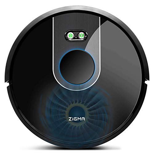 Zigma Robot Aspirapolvere, Navigazione Laser, Controllo Tramite Siri, Alexa e App, Contenitore della Polvere da 600 ml, Serbatoio dell'acqua da 360 ml, per più Piani