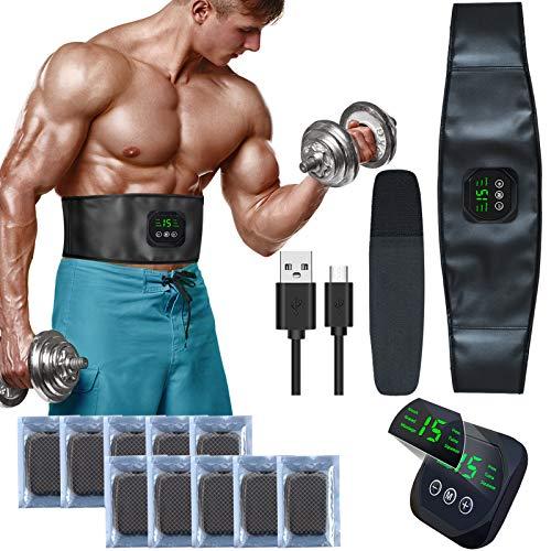 zociko Elettrostimolatore per Addominali,Elettrostimolatore Muscolare, EMS Toner Muscolare Stimolatore, USB Addominale Tonificante Cintura, LCD Display per Uomo Donna Home Gym 10PCS Gel Pezzi