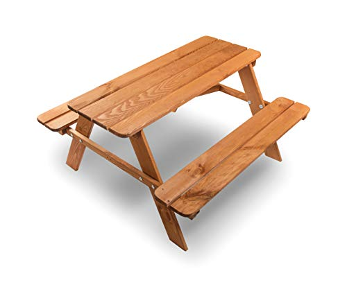 ADGO - Set con tavolo e panche da giardino per bambini, 90 x 90 x 49 cm