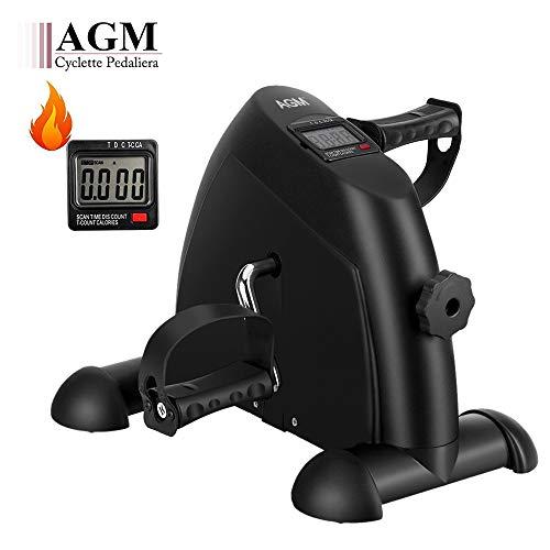 AGM Mini Cyclette Fitness, Cyclette Pedaliera da casa regolabile digitale mani e piedi Macchine per le gambe e Braccia con LCD Display[Nero]