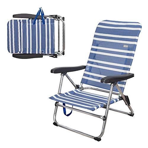 Aktive 62601 – Sedia da spiaggia pieghevole bassa, 5 posizioni, 61 x 50 x 85 cm