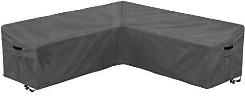 AlaSou - Set di coperture per mobili da giardino, a forma di L, impermeabile, per mobili da giardino, protezione per panca (grigio)