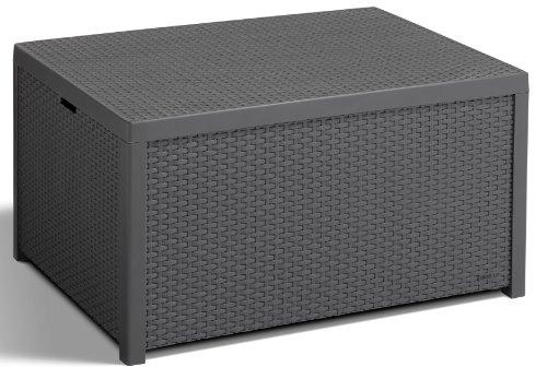 Allibert 220002 Monaco - Tavolino Lounge/cassapanca per Cuscini, in plastica, Simil-Vimini, Colore: Grigio