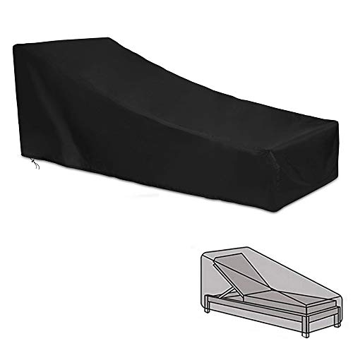 Amasawa Giardino Copertura per lettini Prendisole Traspirante Impermeabile in Tessuto Oxford 420D per Sedia a Sdraio Parasole Custodia Protettiva (Nero)