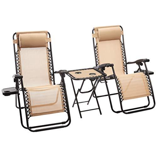 Amazon Basics - Sedie a sdraio Zero Gravity con tavolino, set da 2, marrone chiaro