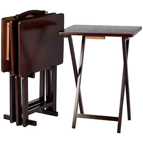 Amazon Basics, set da 4 tavolini alti pieghevoli per snack/cena, stile classico, con rastrelliera - Espresso