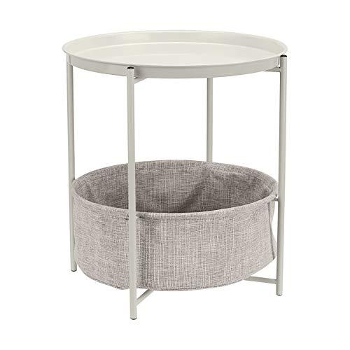 Amazon Basics - Tavolino rotondo con spazio per stoccaggio, bianco con tessuto melange grigio
