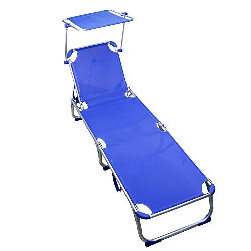 ARCOIRIS Lettino, Lettino reclinabile con Schienale reclinabile e Ombrellone, Pieghevole, Leggero, Portata 150 kg, per Giardino (Pack 1, Azul)