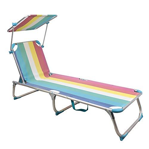 ARCOIRIS Lettino, Lettino reclinabile con Schienale reclinabile e Ombrellone, Pieghevole, Leggero, Portata 150 kg, per Giardino (Pack 1, Multicolor)