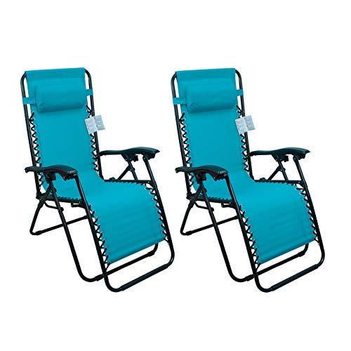 Arcoiris Lettino pieghevole arcobaleno, sedie a dondolo da giardino per esterno con imbottitura per la testa regolabile, ergonomico, 165x65x110 cm (Pack 2, Azul)
