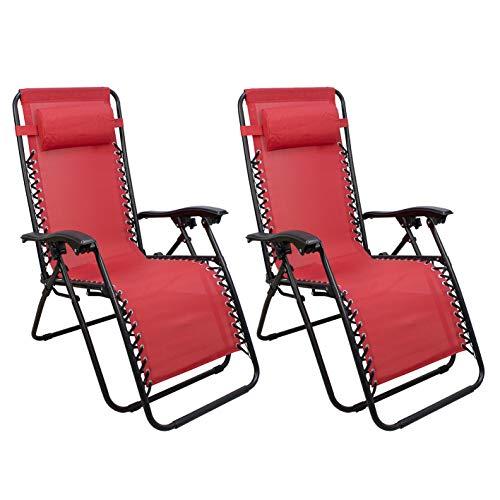 Arcoiris Lettino pieghevole arcobaleno, sedie a dondolo da giardino per esterno con imbottitura per la testa regolabile, ergonomico, 165x65x110 cm (Pack 2, Rojo)