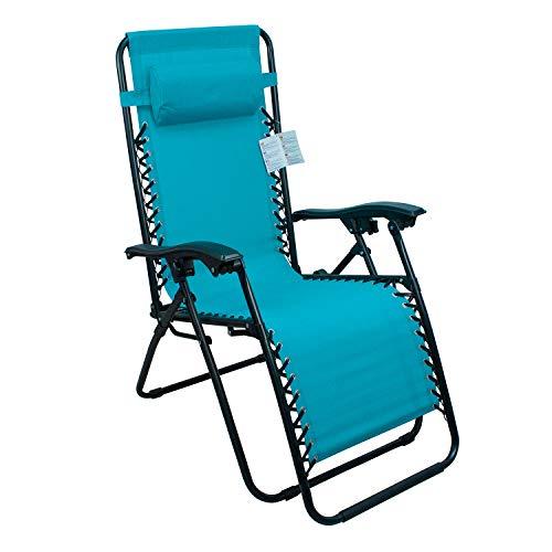Arcoiris Lettino pieghevole arcobaleno, sedie a dondolo da giardino per esterno con imbottitura per la testa regolabile, ergonomico, 165x65x110 cm (Pack 1, Azul)