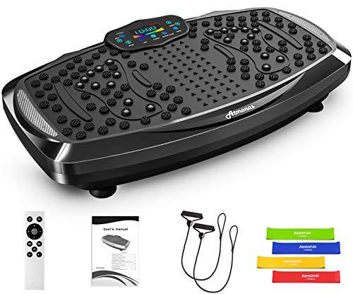 Atmonas Piastra di vibrazione oversize con altoparlante Bluetooth, 5 modalità di programma, 199 livelli, 2 bande di loop, vibrazione fitness trainer per la casa fitness e modellatura