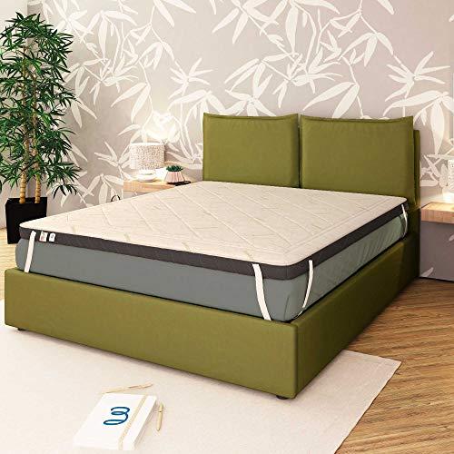 Baldiflex Emporio Topper Memory Foam Materasso Matrimoniale 160x190 cm H 8 cm con Rivestimento Bamboo