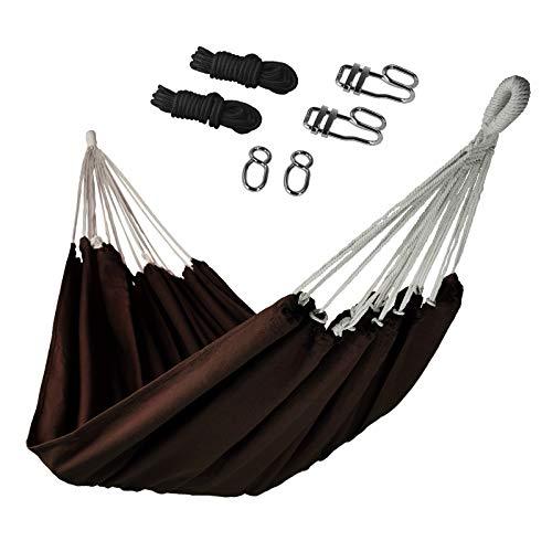 BB Sport Amaca di Giardino 200 x 140 cm Set Fissaggio Massima Portata 200 kg Borsa Transporto Legero Morbido Esterno, Colore:Cioccolata
