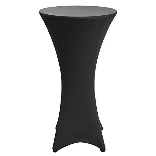 Beautissu Fodera Elastica per tavoli Alti da Bar & Cocktail Stella Ø60-65cm Rivestimento tavolini bistrot Catering Nozze - Nero