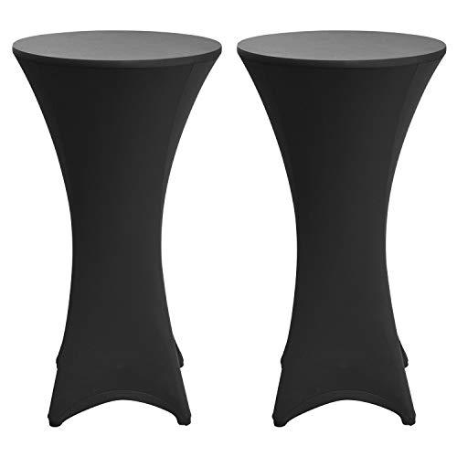 Beautissu Set da 2 tovaglie Rivestimento Elastico per tavoli da Bar & Cocktail Stella Ø80-85cm - Fodera Elastica tavolini per Eventi e Catering - Nero