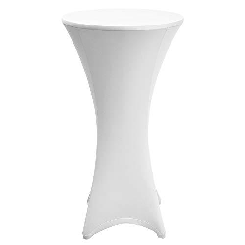 Beautissu Tovaglia Rivestimento Elastico per tavoli da Bar & Cocktail Stella Ø70-75cm - Fodera Elastica tavolini per Eventi e Catering - Bianco