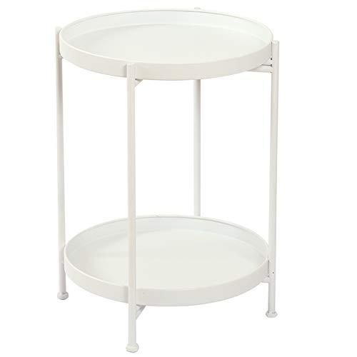 BeGrit Tavolino rotondo pieghevole Tavolino da caffè in metallo bianca per Soggiorno Balcone Robusto e Stabile Decorativo Comodino