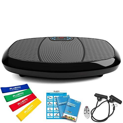 Bluefin Fitness Pedana Vibrante 3D con Doppio Motore | Oscillazione, Vibrazione + Movimento 3D | Ampia Superficie Antiscivolo | Altoparlanti Bluetooth | Progettata nello UK (Nero)