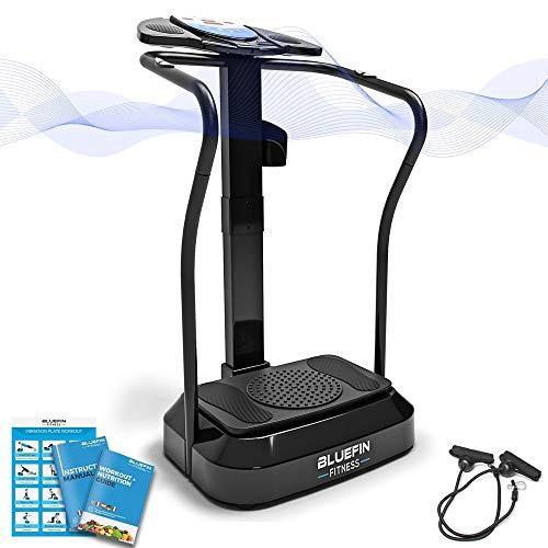 Bluefin Fitness Pedana Vibrante Dimagrante Bluefin PRO | Ginnastica da Casa a Ritmo Elevato| Console per Allenamento Completo | Rotazione dei Fianchi A 360°| Silenziosa | Altoparlanti Aux (Nero)