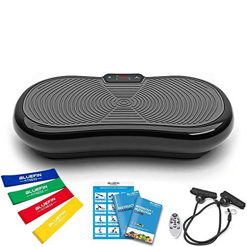 Bluefin Fitness Pedana Vibrante Ultra Slim | 5 Programmi + 180 Livelli | Altoparlanti Bluetooth | Dimensioni Ridotte | Design Made in UK | Performance Durevole (Nero)