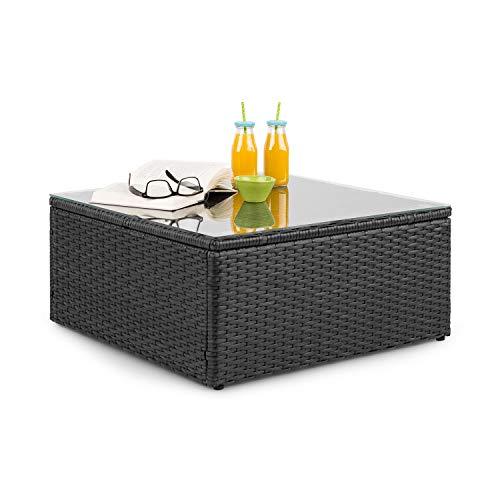 blumfeldt Theia Lounge Table - Tavolo da Giardino, Tavolo da Lounge, Polyrattan, Piano in Vetro, Nero