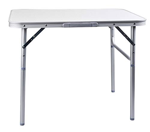Camp Active - Tavolo Pieghevole in Alluminio, Argento, 75x 55x 60 cm, Regolabile in Altezza