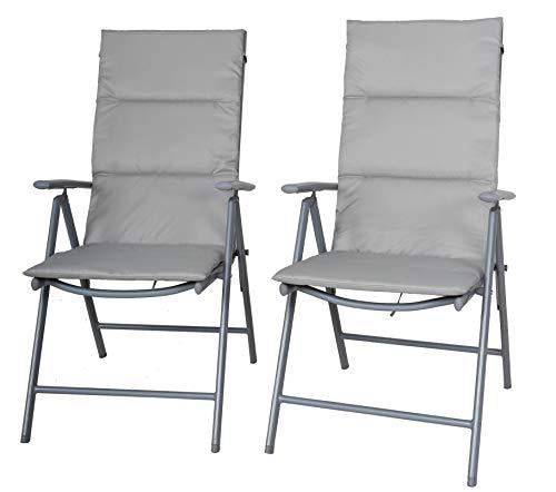 Chicreat C014 sedie pieghevoli da campeggio imbottite, set da 2, colore argento/grigio, 0