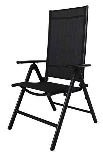 Chicreat C248.3 sedia da campeggio pieghevole con schienale alto, colore nero, alluminio, 0