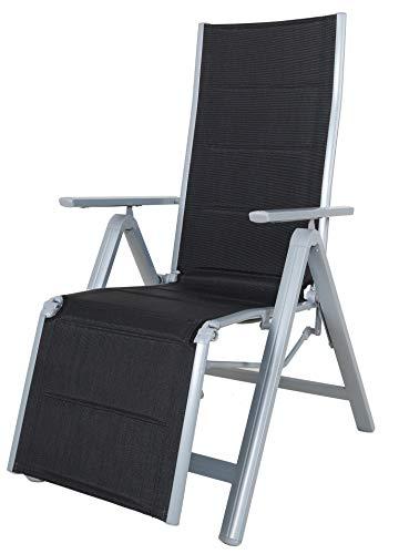 Chicreat Sedia Relax Pieghevole, Struttura in Alluminio, colore Nero / Argento
