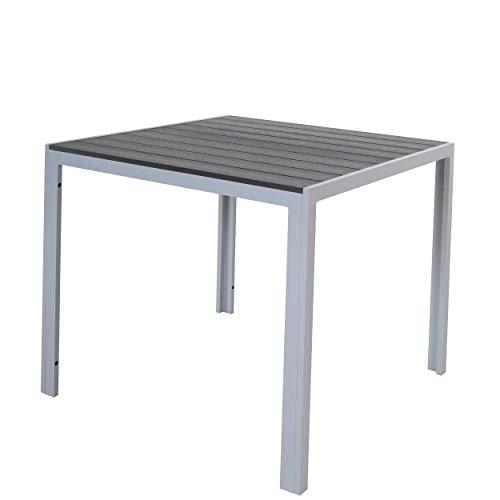 Chicreat Tavolo in alluminio con superficie in polywood, 90 x 90 x 75 cm, argento e nero