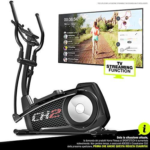 Cyclette ellittica Sportstech CX2 - con App e generatore di potenza integrato - Kinomap - Trainer ellittico, console Bluetooth e supporto per tablet incluso - Massa volano di 27 kg