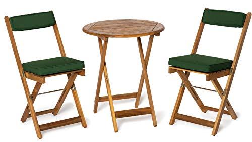 Deliano - Set da balcone Kreta, in acacia con cuscini, pieghevole, 2 sedie e 1 tavolo rotondo