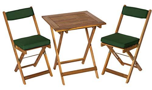 Deliano - Set da balcone Kreta in acacia con cuscino – pieghevole, salvaspazio, 2 sedie, 1 tavolo rettangolare